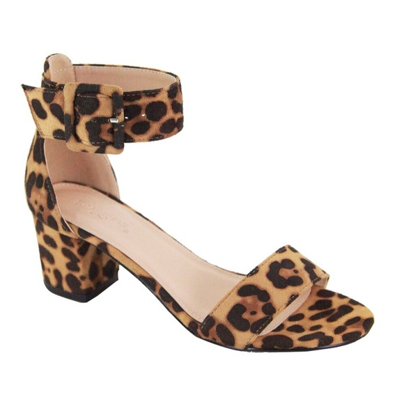 WILA Shoes - VIDA🖤 leopard print open toe low block heels